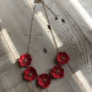 Charming Charlie Red Floral Necklace